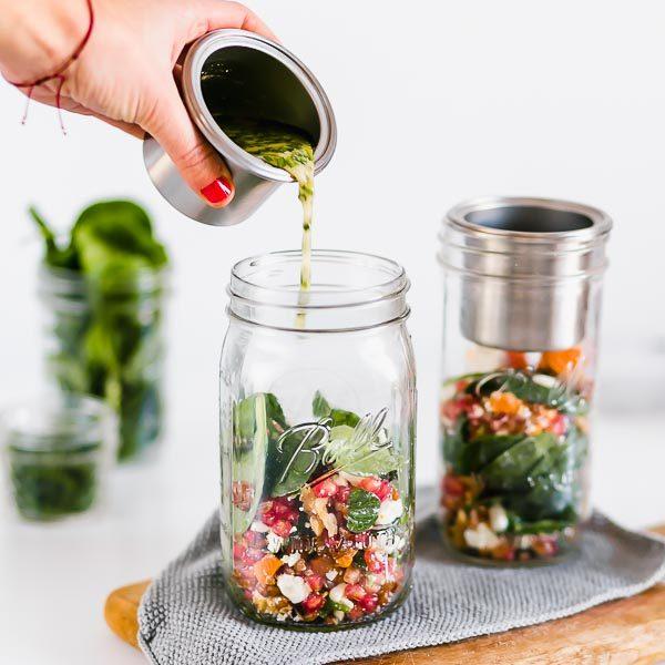 Salatglas mit Edelstahleinsatz