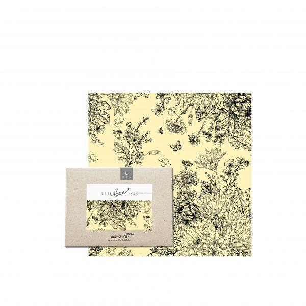 Veganes Bienenwachstuch L Blumenwiese schwarz-weiss
